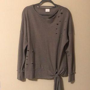 NWOT Distressed Gray Crewneck Sweatshirt